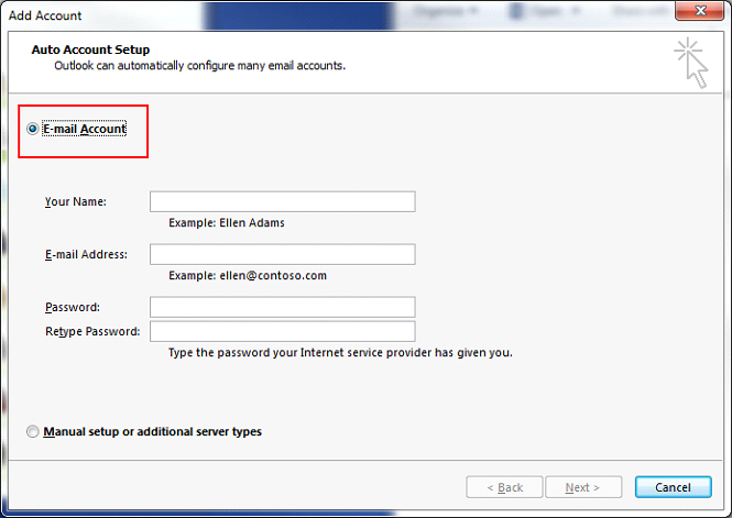 How to set up another email account outlook